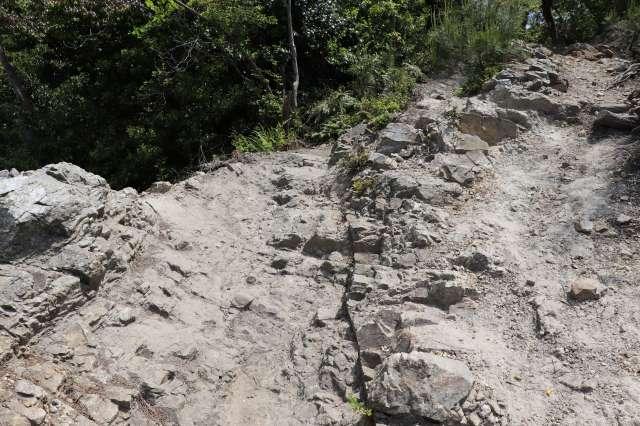 岩が露出した道