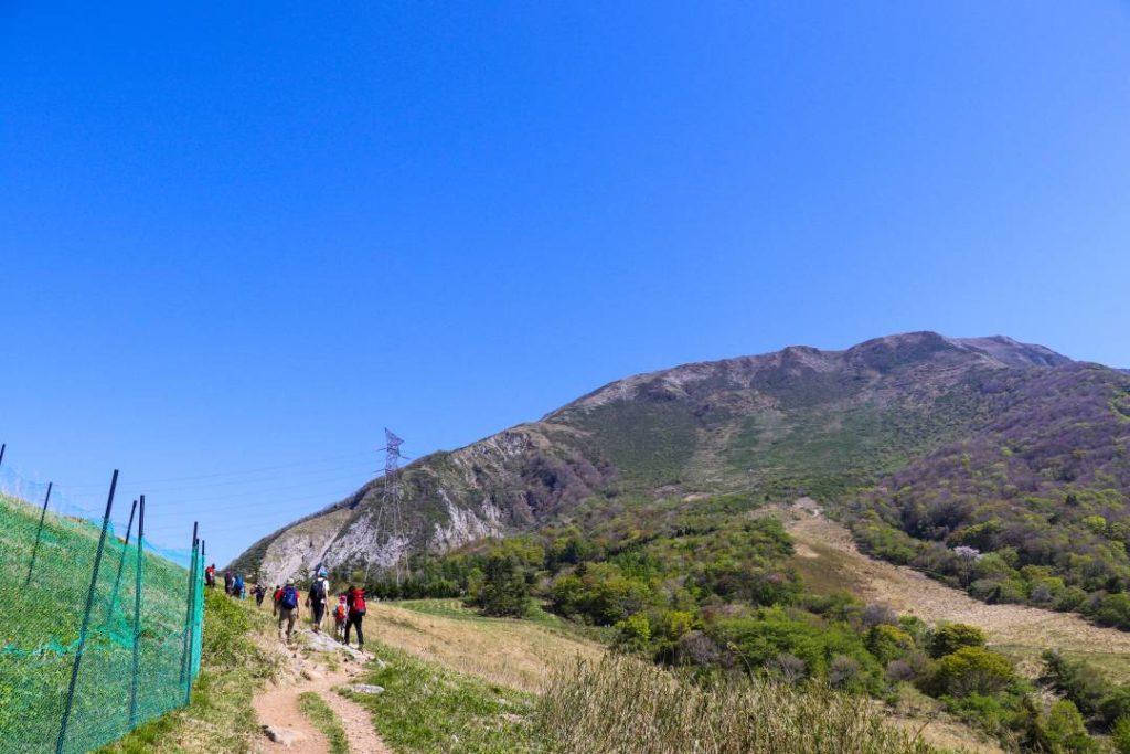 伊吹山の参道から山頂を望む