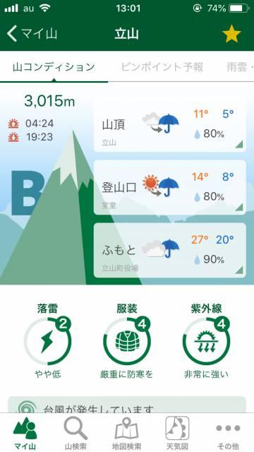 登山天気アプリの写真